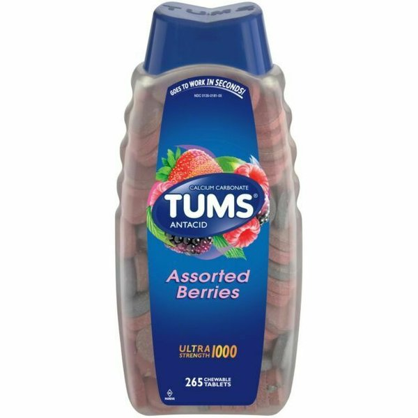 Tums Ultra Strength 1000 Assorted Berries 265 Chewable Tablets
