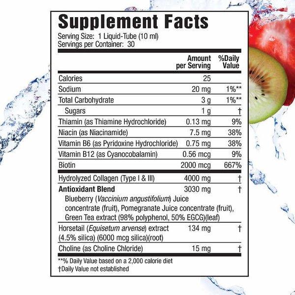 Applied Nutrition Liquid Collagen Tropical Strawberry & Kiwi Flavored, 30 Liquid-Tubes, 10 ml Each